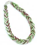 CN61 Бисерное колье 18 нитей, заплетенные косичкой, 40-45см. Цвета итальянского флага