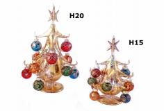 SM4249 Елка золотая на подставке с шарами и звездой H20см