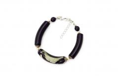 2012-67/maz(2) Браслет с бусинами-тубами цвет черно-серый муранское стекло