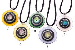 DEM01 Подвеска Круг на витом шнурке 5 цветов муранское стекло