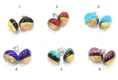 RD12 Серьги-гвоздики с золотом и авентурином 6 цветов муранское стекло