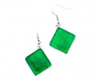Арт. 02 зеленый - серьги 1,5x1,5см на швензе/дужке муранское стекло