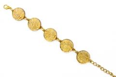 Арт.01 золотой - браслет с 5 круглыми элементами диам.1,8см муранское стекло
