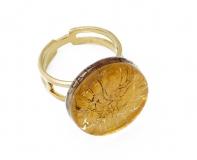 Арт.01 золотой - кольцо круглое диам.1,8см муранское стекло