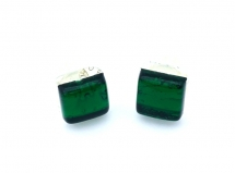 Арт.02 зеленый - серьги-гвоздики 1х1см муранское стекло