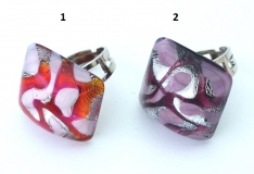 ZN11A Кольцо Джемма квадрат 2,5х2,5см 2 цвета муранское стекло