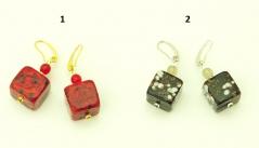 RC05/maz Серьги-кубики Апеннины 2 цвета муранское стекло