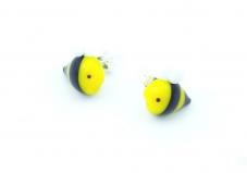 LV41 Серьги-гвоздики мини Пчелка 15 мм муранское стекло