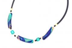 S890 Колье BLUE MOON на коже 55+4 см  муранское стекло