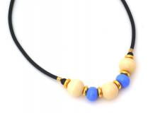 S812 Колье на каучуке цвет слоновой кости-небесно голубой муранское стекло