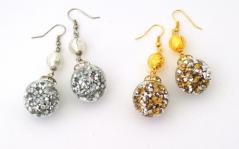 Vac/O9715 Серьги ШАР c кристаллами (золото, серебро) муранское стекло