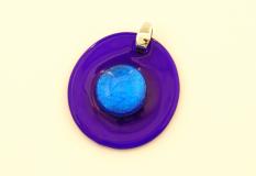 PM04 Подвеска круглая цвет синий муранское стекло