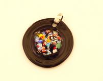 PM04 Подвеска круглая черная Арлекино муранское стекло
