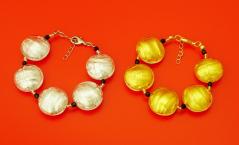 S547MOD Браслет Classic золото и серебро муранское стекло